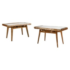 1950s Rattan Side Tables Attributed to Isamu Kenmochi, a Set of 2