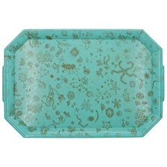 1950s Ray Eames Sea Things Schiffer Pattern Gold Aqua Melamine Waverly Tray