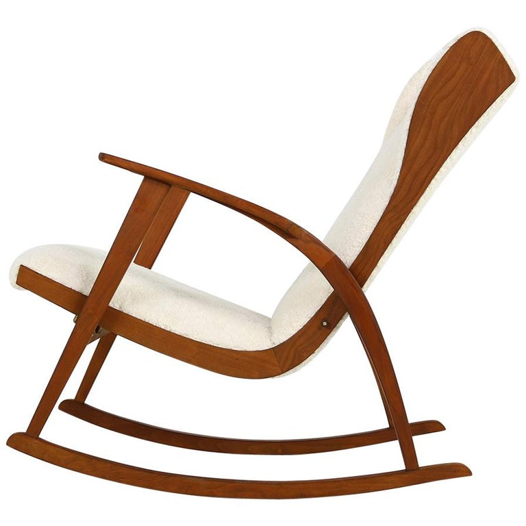 1950s Reclinable Rocking Chair With Teddy Fur And Leather Mid Century Modern For Sale