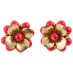 1950s Red and Gold Tone Flowers Clip on Earrings