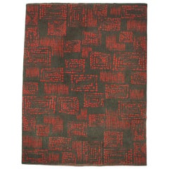 1950s Red and Grey Geometric Abstract Wool Rug Modernist