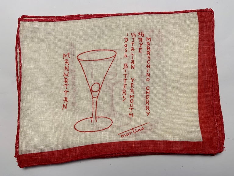 1950's Red and White Linen Cocktail Napkins with Drinks Recipes Set of Eight For Sale 6