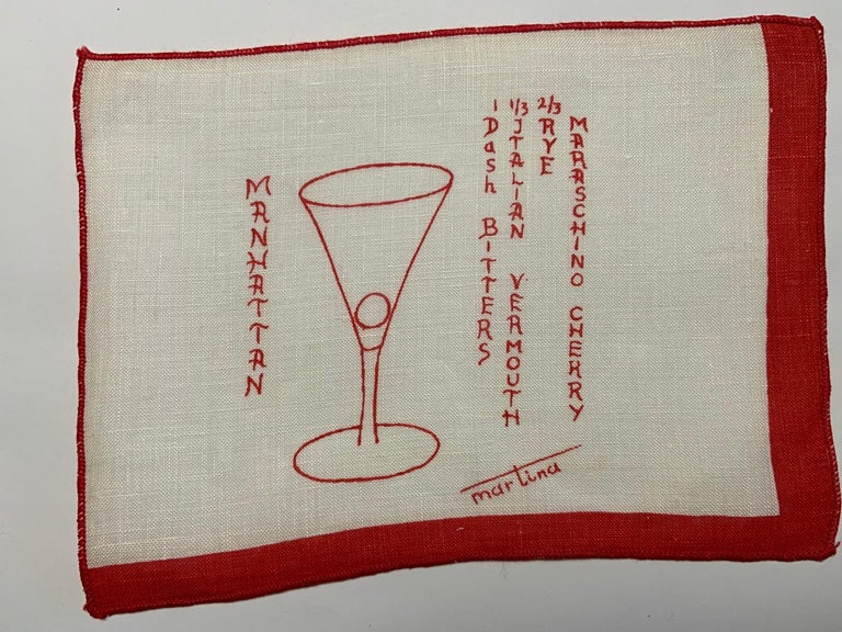 A fun set of eight printed linen cocktail napkins, each has a different cocktail, the correct glass and the ingredient list, already for the perfect drink. The set includes one each of Manhattan, Dry Martini, Old Fashioned, Daiquiri, Whiskey Sour,