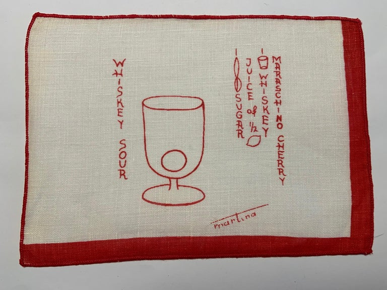 1950's Red and White Linen Cocktail Napkins with Drinks Recipes Set of Eight In Excellent Condition For Sale In New Hope, PA