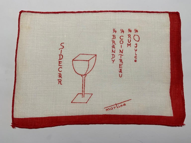 Women's or Men's 1950's Red and White Linen Cocktail Napkins with Drinks Recipes Set of Eight For Sale