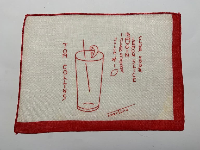 1950's Red and White Linen Cocktail Napkins with Drinks Recipes Set of Eight For Sale 1