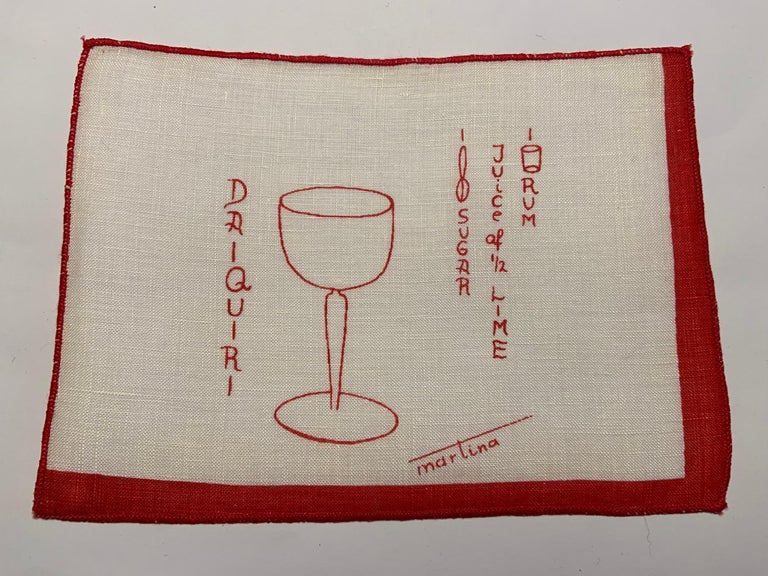 1950's Red and White Linen Cocktail Napkins with Drinks Recipes Set of Eight For Sale 2
