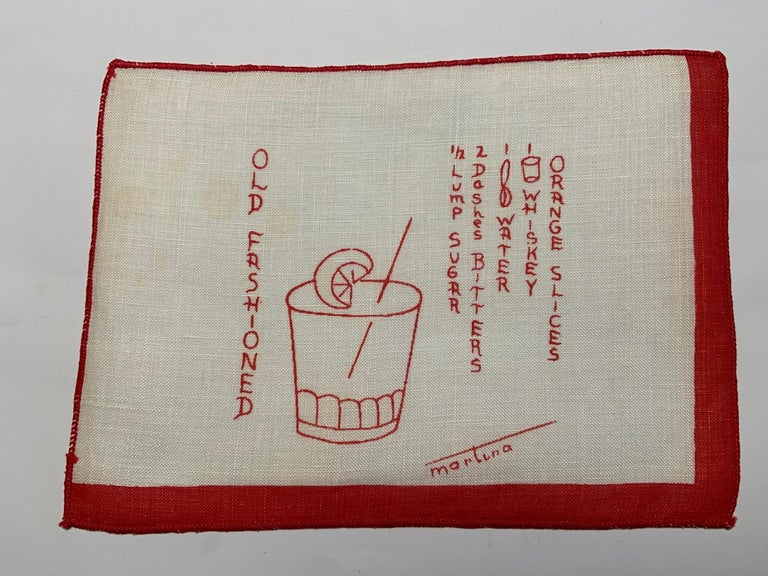 1950's Red and White Linen Cocktail Napkins with Drinks Recipes Set of Eight For Sale 3
