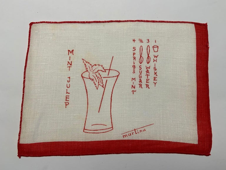 1950's Red and White Linen Cocktail Napkins with Drinks Recipes Set of Eight For Sale 4