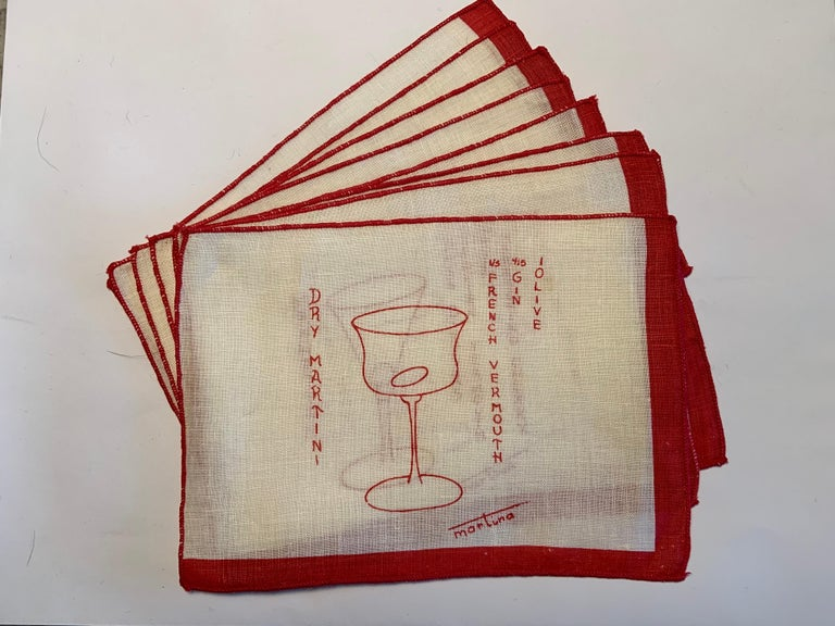 1950's Red and White Linen Cocktail Napkins with Drinks Recipes Set of Eight For Sale 5