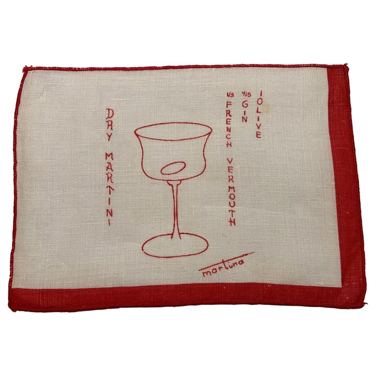 1950's Red and White Linen Cocktail Napkins with Drinks Recipes Set of Eight For Sale
