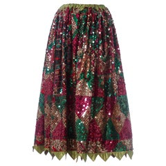 1950S Red & Black Cotton Fully Sequined  Skirt With Mexican Folk Scenes