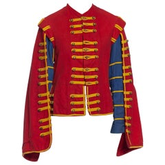 1950S Red & Blue Cotton Men's 16Th Century Style Jacket With Cape Sleeves Gold