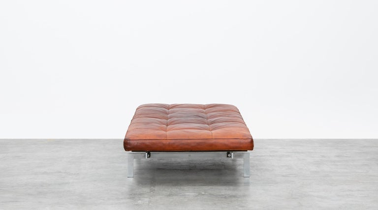 Danish 1950s Red Brown Leather and Steel Base Daybed by Poul Kjaerholm 'b' For Sale