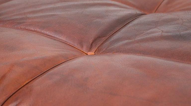 Mid-20th Century 1950s Red Brown Leather and Steel Base Daybed by Poul Kjaerholm 'b' For Sale