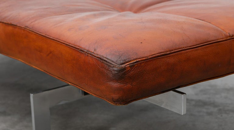 1950s Red Brown Leather and Steel Base Daybed by Poul Kjaerholm 'b' For Sale 1
