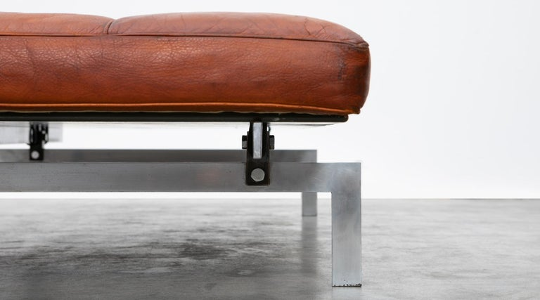 1950s Red Brown Leather and Steel Base Daybed by Poul Kjaerholm 'b' For Sale 3