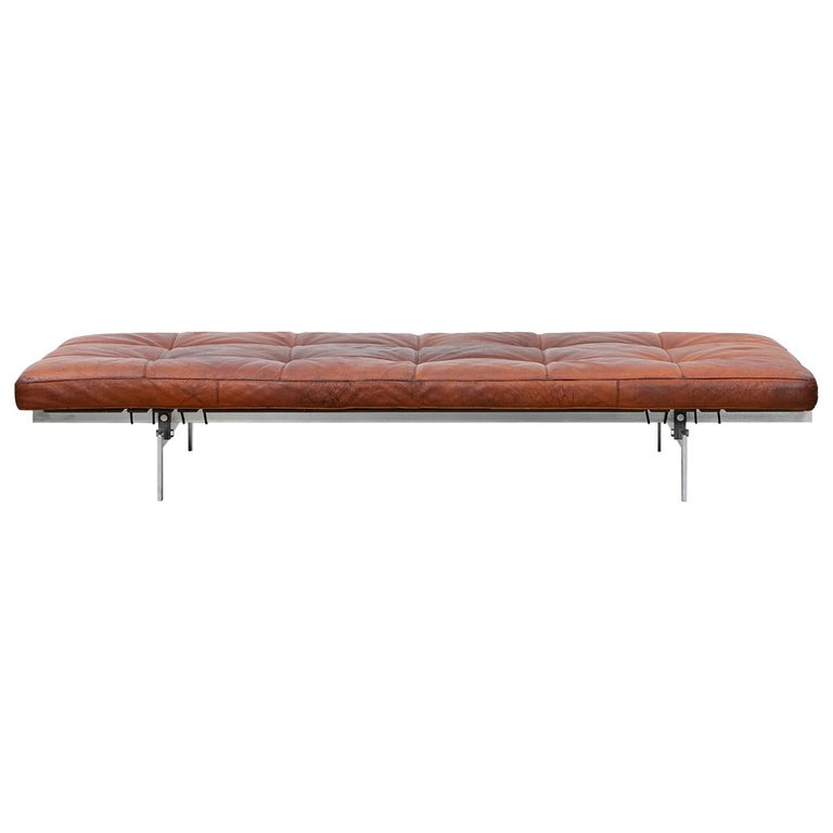 1950s Red Brown Leather and Steel Base Daybed by Poul Kjaerholm 'b' For Sale