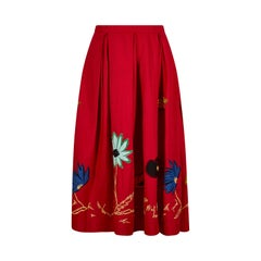 1950s Red Cotton Skirt With Floral Novelty Appliqué