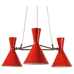 1950s Red Double-Cone Shade Chandelier
