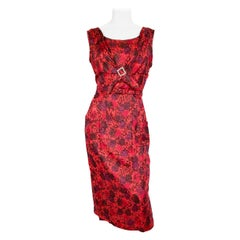 1950s Red Impressionist Printed Silk Dress