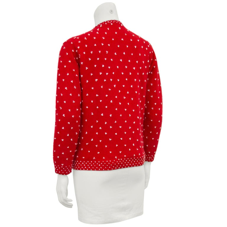 1950's Red Knit Cardigan with French Knot Details In Good Condition For Sale In Toronto, Ontario