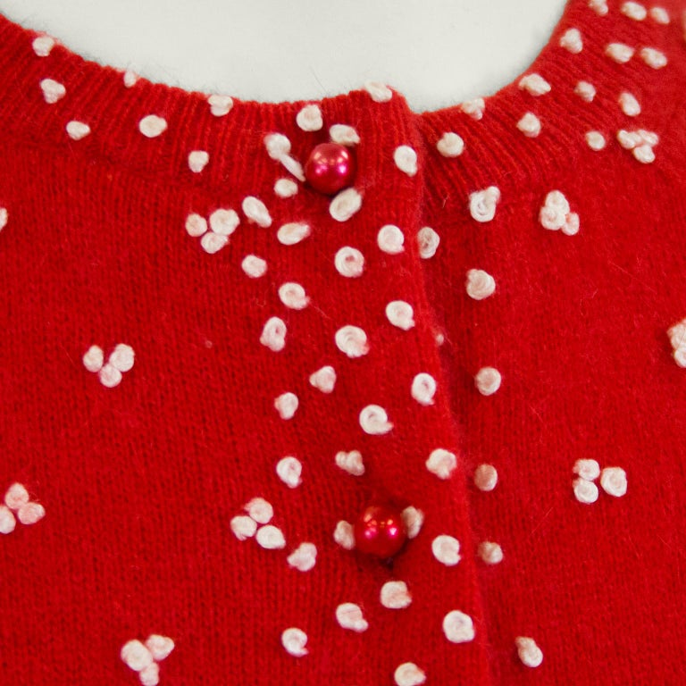 Women's 1950's Red Knit Cardigan with French Knot Details For Sale