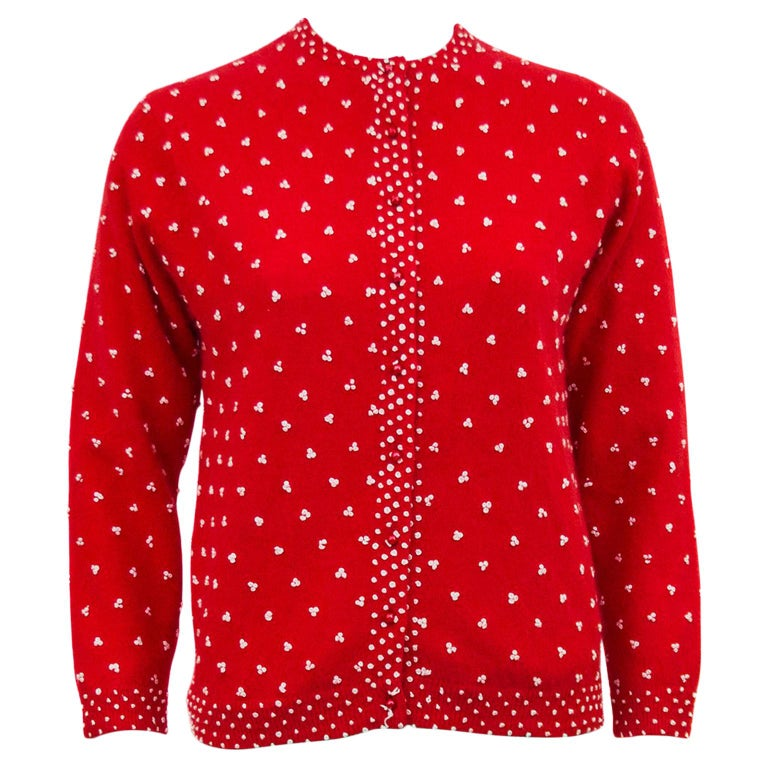 1950's Red Knit Cardigan with French Knot Details For Sale