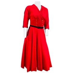 1950s Red Light Wool Dress