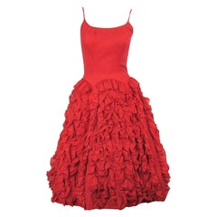 1950s Red Ruffled Dress Flamenco Dancer Party