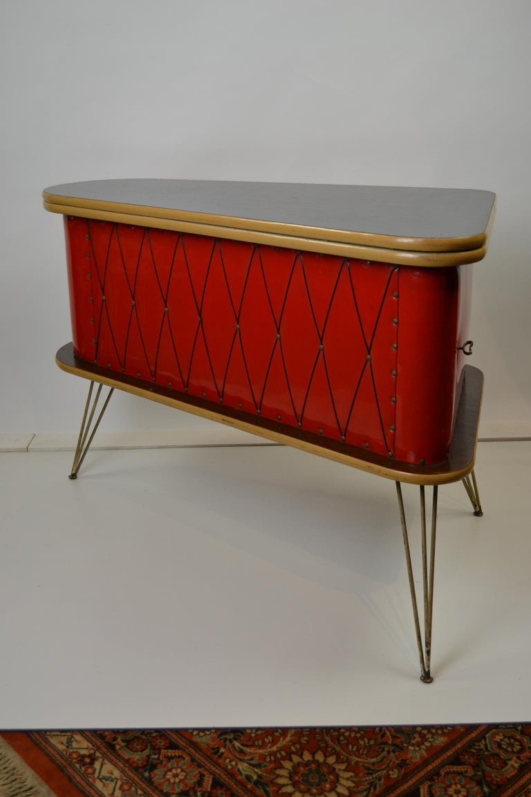 1950s Red Storage Cabinet, Home Bar For Sale 6