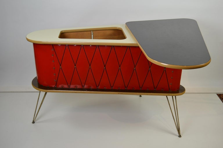 1950s Red Storage Cabinet, Home Bar For Sale 7