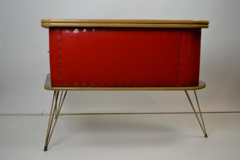 1950s Red Storage Cabinet, Home Bar For Sale 11