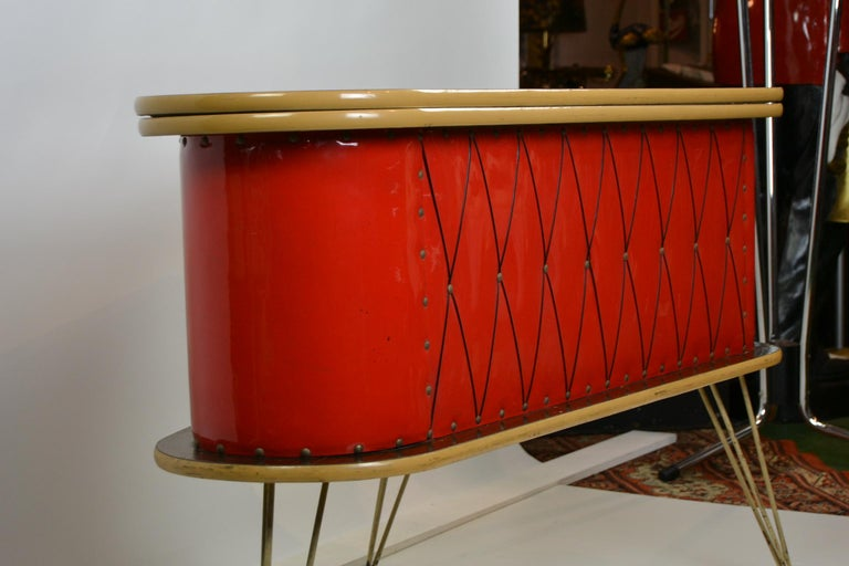 Mid-Century Modern 1950s Red Storage Cabinet, Home Bar For Sale