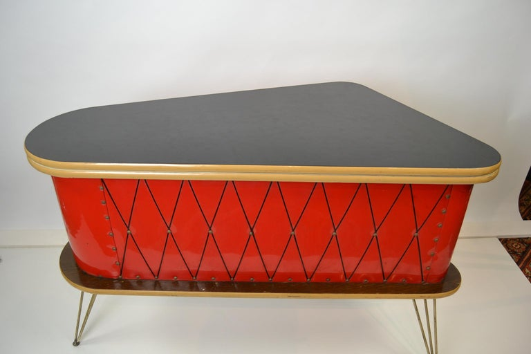 European 1950s Red Storage Cabinet, Home Bar For Sale