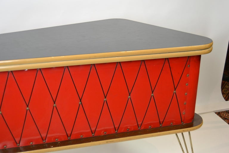 20th Century 1950s Red Storage Cabinet, Home Bar For Sale