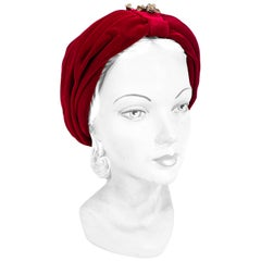 1950s Red Velvet Turban With Brass Ornament