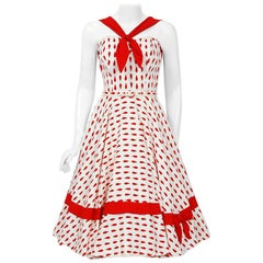 1950's Red & White Teardrop Novelty Print Cotton Pique Bow Belted Full Dress