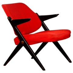 1950s, Red Wool Bengt Ruda Lounge Chair for Nordiska Kompaniet