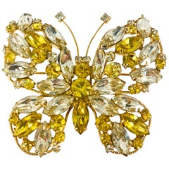 1950s Regency Large Yellow Rhinestone Butterfly Brooch