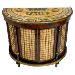 1950s Regency Pietra Dura Style Painted Mahogany Demilune Cabinet