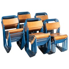 1950s Remploy Tubular Metal Stacking Dining Chairs, Blue Frame 30+ in Stock