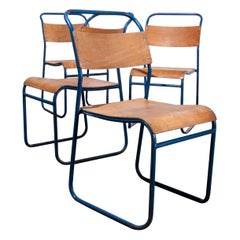 1950s Remploy Tubular Metal Stacking Dining Chairs, Set of Four Blue Frame