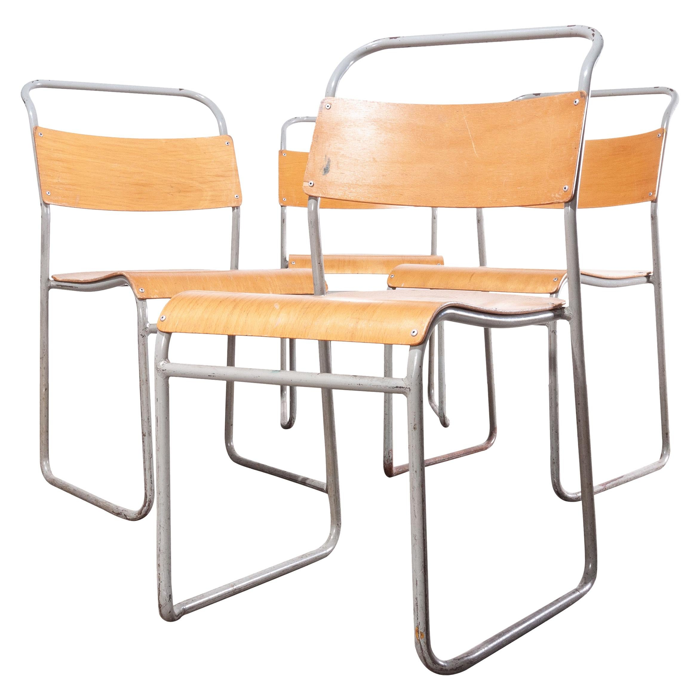 1950s Remploy Tubular Metal Stacking Dining Chairs, Set Of Four Grey Frame