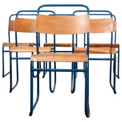1950s Remploy Tubular Metal Stacking Dining Chairs, Set of Six Blue Frame