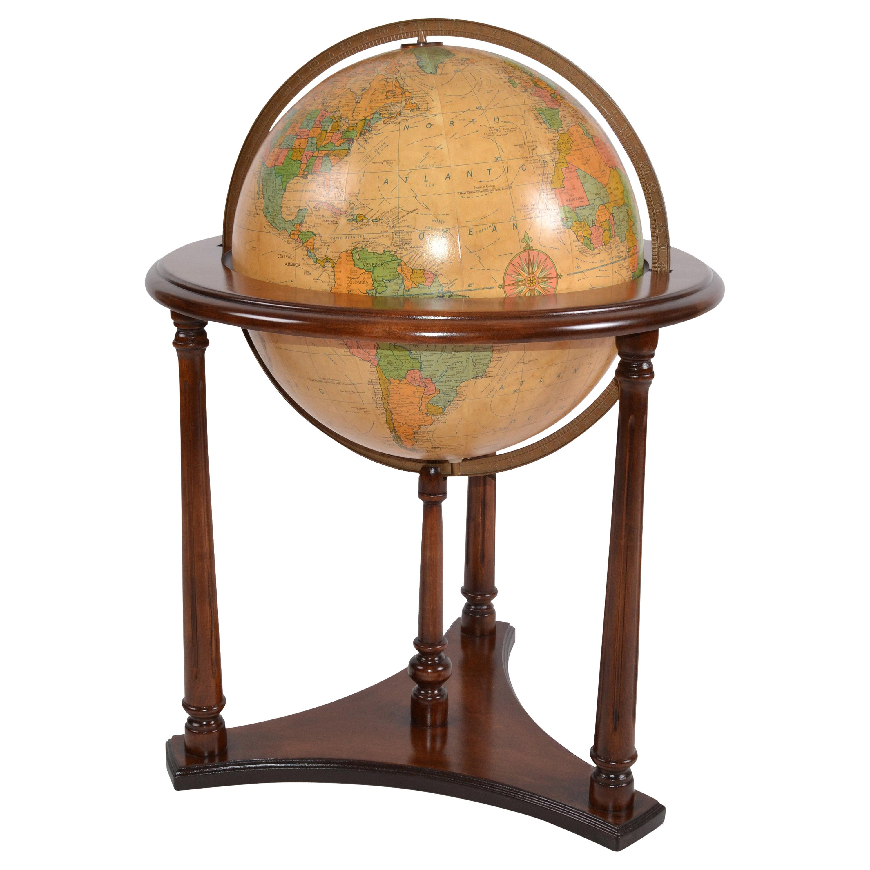 1950s Replogle Mid-Century Modern Illuminated Glass Globe on Walnut Stand