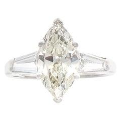 1950s Retro 1.58 Carat Marquise Diamond Platinum Ring