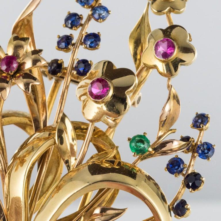 1950s Retro 18 Karat Gold Bouquet Precious Stones Brooch For Sale 9