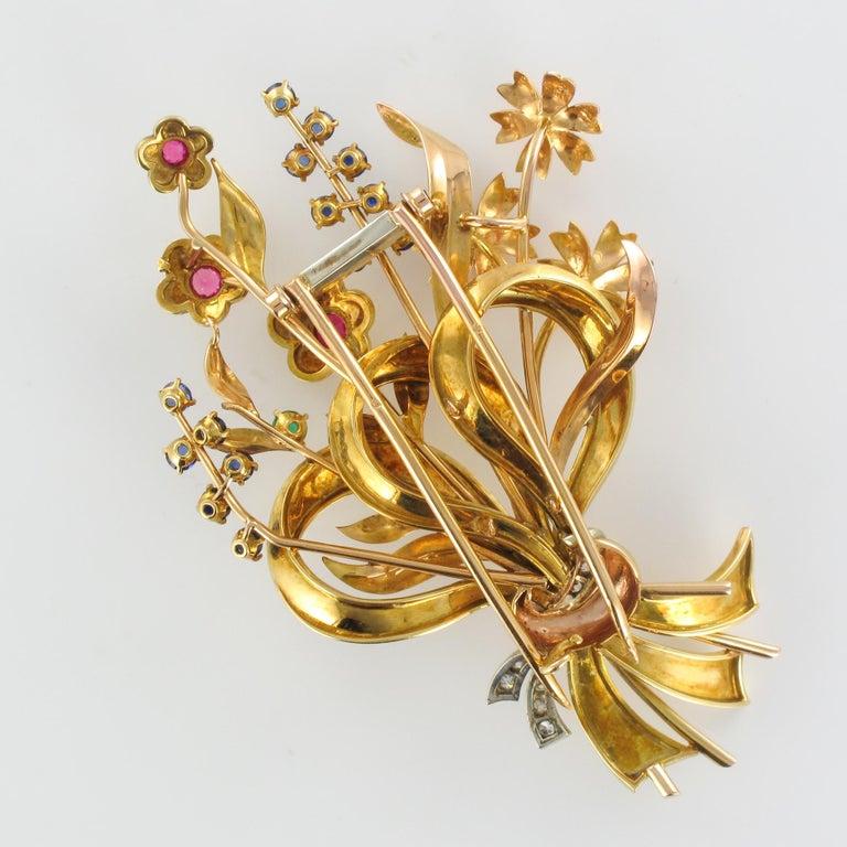 1950s Retro 18 Karat Gold Bouquet Precious Stones Brooch For Sale 10