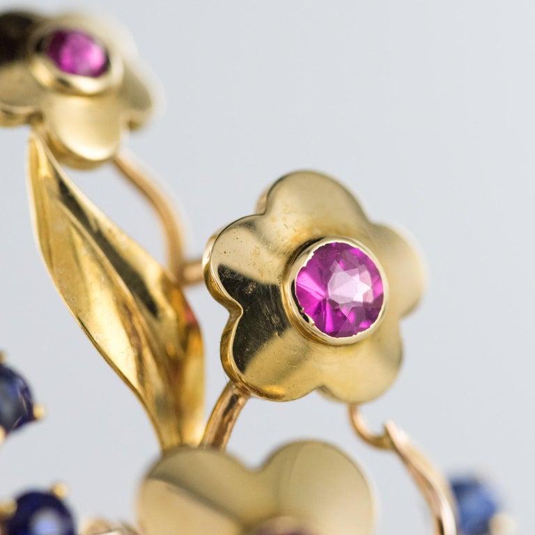 1950s Retro 18 Karat Gold Bouquet Precious Stones Brooch For Sale 2